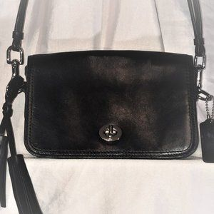 Coach Black leather crossover purse with tassles